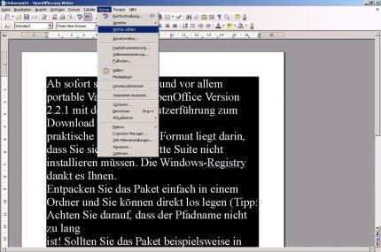 OpenOffice 2.2.1 auf Deutsch als Portable-Version