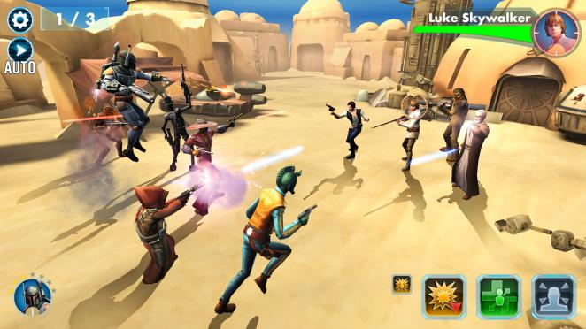 Star Wars: Galaxy of Heroes: Rundenbasiertes Rollenspiel ohne Story.