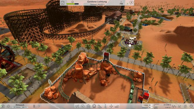 In der Early-Access-Version von Rollecoaster Tycoon World stehen insgesamt fünf unterschiedliche Settings wie etwa 'der verrückte Canyon' zur Auswahl.
