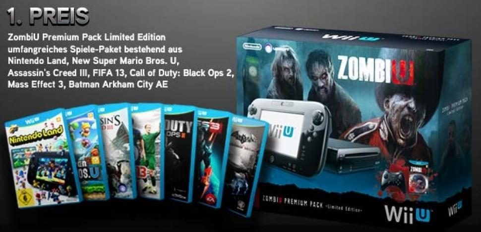 <b>1. Preis</b>: ZombiU Premium Pack Limited Edition plus umfangreiches Spielepacket mit Nintendo Land, New Super Mario Bros. U, Assassin's Creed III, FIFA 13, Call of Duty: Black Ops, Mass Effect 3, Batman: Arkham City