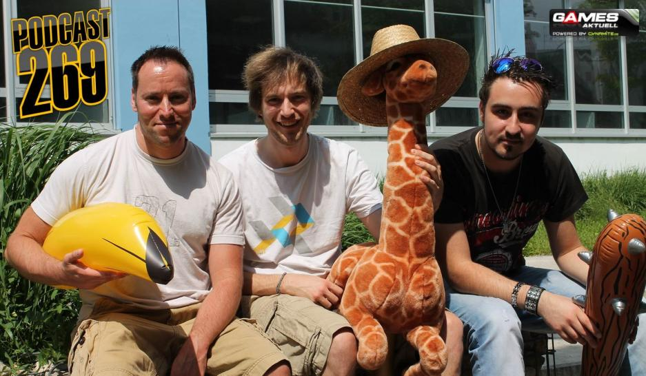 Games Aktuell Podcast 269: Andy, Dominic, namenlose Giraffe, Marc (von links)