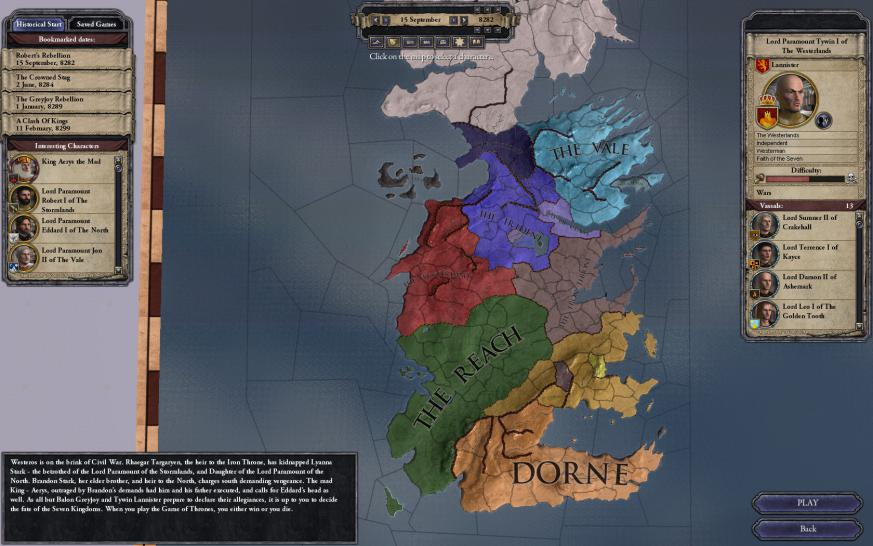 "Die ""A Game of Thrones""-Mod für Crusader Kings 2 ist in Version 1.0 erschienen.  (1)"