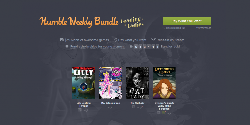 Humble Weekly Bundle: Leading Ladies-Bundle mit The Cat Lady, Defender's Quest und mehr