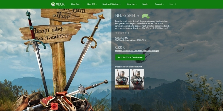 Der New Game Plus-Modus für The Witcher 3 steht für Xbox One-User zum Download bereit.