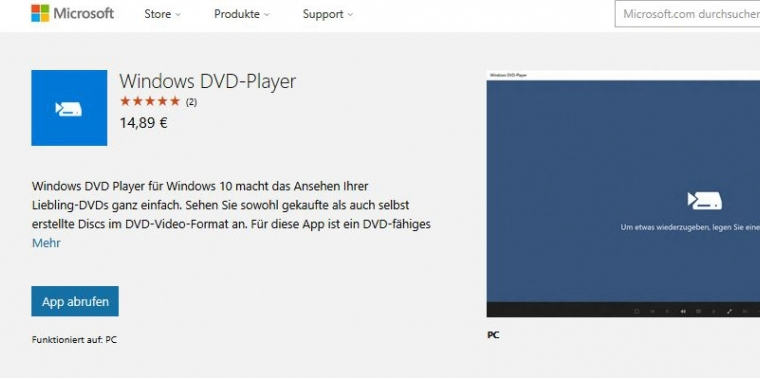 Die DVD-Player-App für Windows 10 kostet knapp 15 Euro.