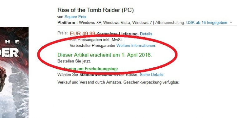 Laut Amazon erscheint Rise of the Tomb Raider am 1. April 2016 für PC.