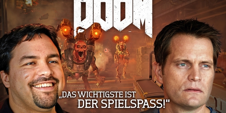 PC Games bittet Hugo Martin (links) und Marty Stratton (rechts) von id Software zum Video-Interview.