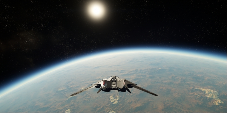 Star Citizen: Flying into the orbit of a procedural generated planet.